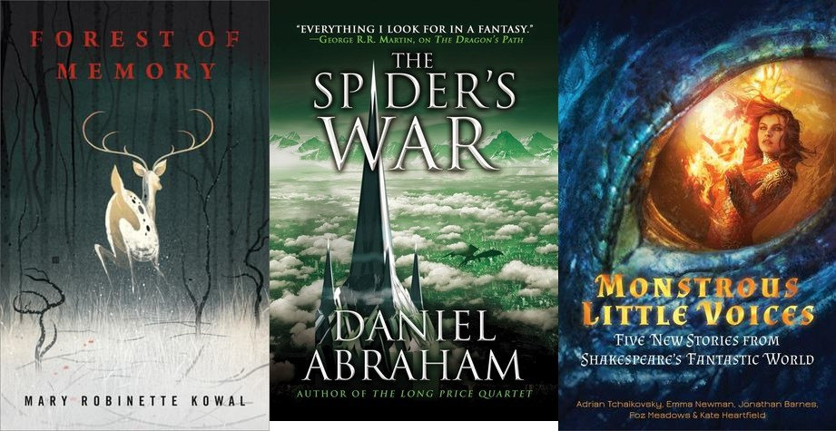 Covers of Forest of Memory, The Spider's War, and Monstrous Little Voices