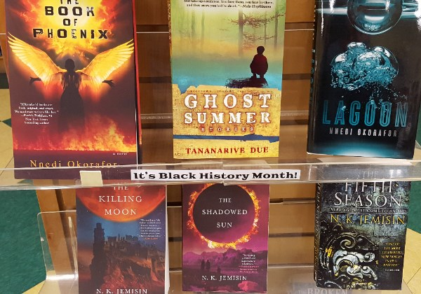 Image of a books in Pandemonium's Black History Month display