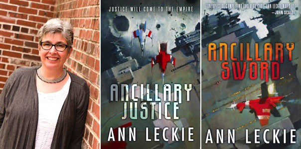 Photo of Ann Leckie and two book covers