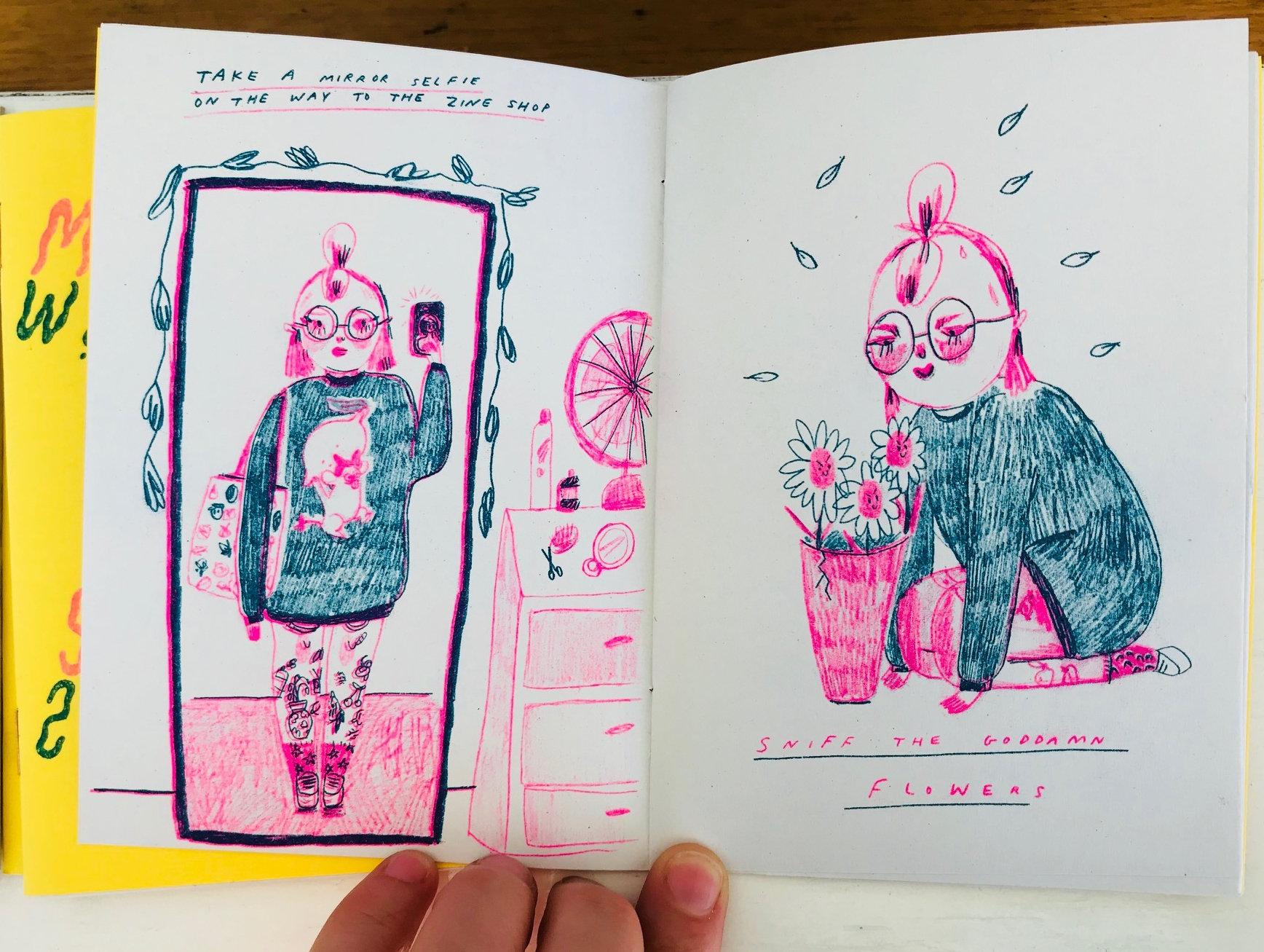 "Spread from the zine ""Mirror Selfie"" by Gemma Flack"