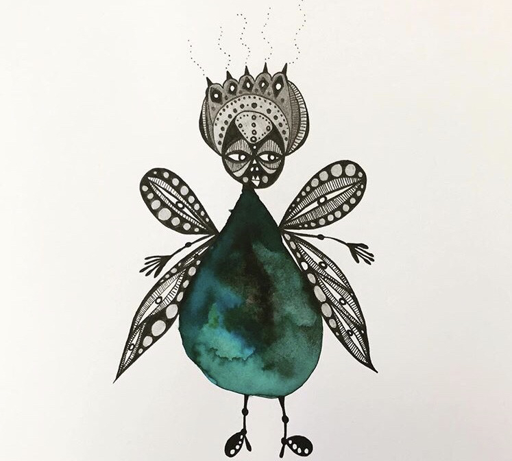 Watercolour and ink by Emily Bell