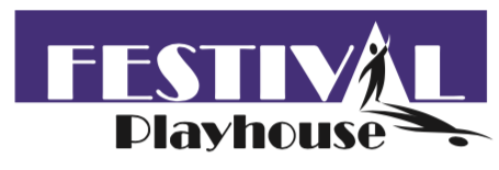 Festival Playhouse Logo.  The word Festival is over the word Playhouse and there is a person standing in the spot where the 'A' in Festival is