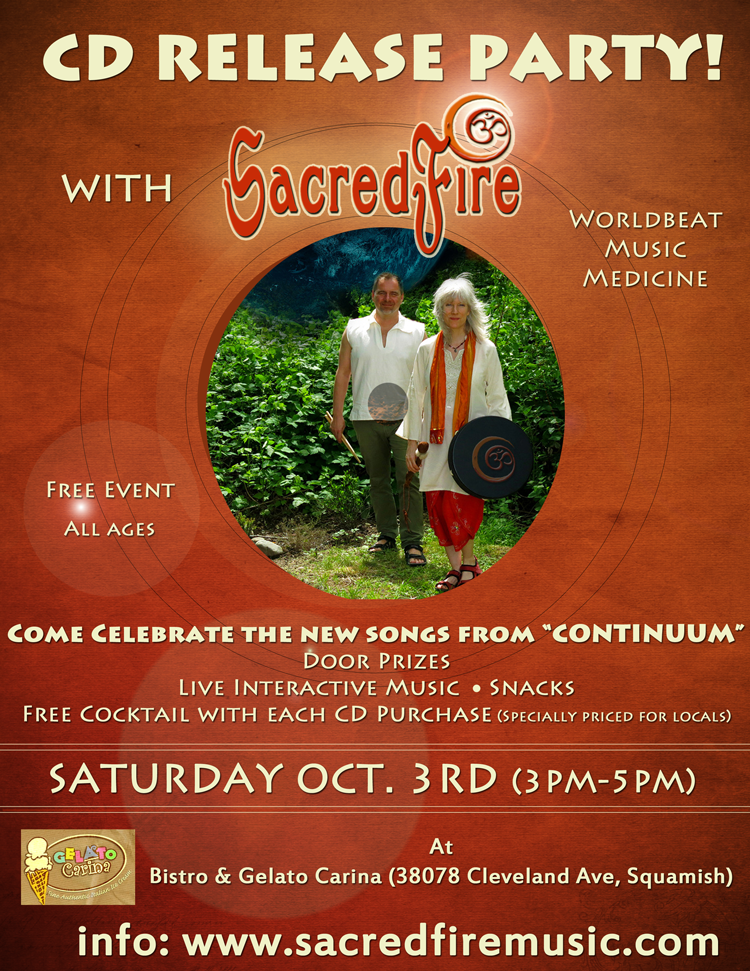 SacredFire new CD Release party poster