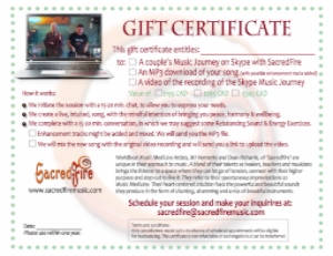 Order your gift certificate for a Skype Music Journey with SacredFire