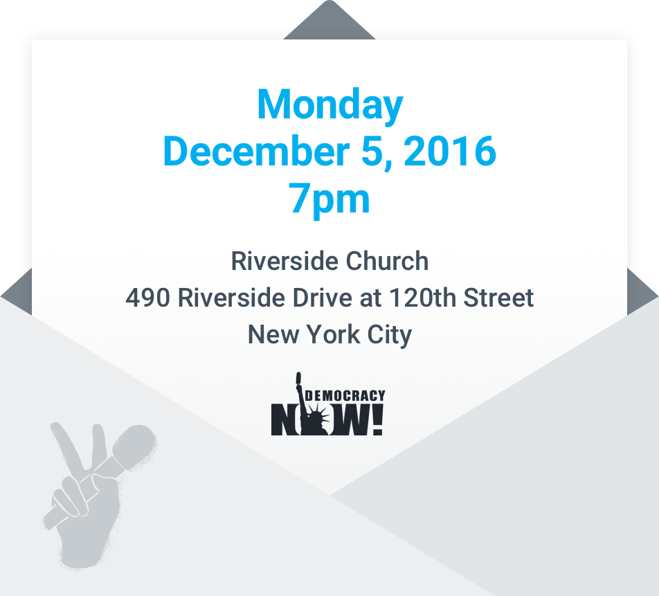 Monday, December 5, 2016, 7 to 9 pm at Riverside Church, 91 Claremont Avenue at 121st Street, New York City