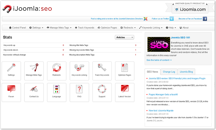 iJoomla SEO's new admin,activate images to see