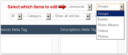 Edit the meta tags of all your JomSocial items
