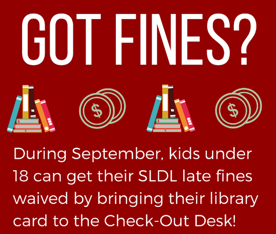 Image saying 'Got Fines' Juvenile late fines waived in September