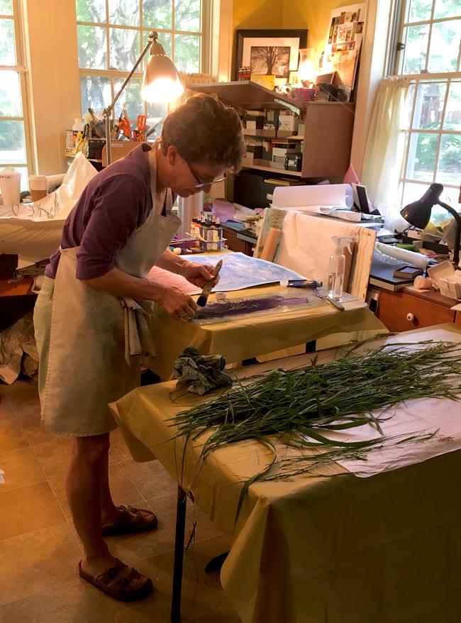 Studio time June 2018  ©Linda Snouffer, Botanical Printmaker