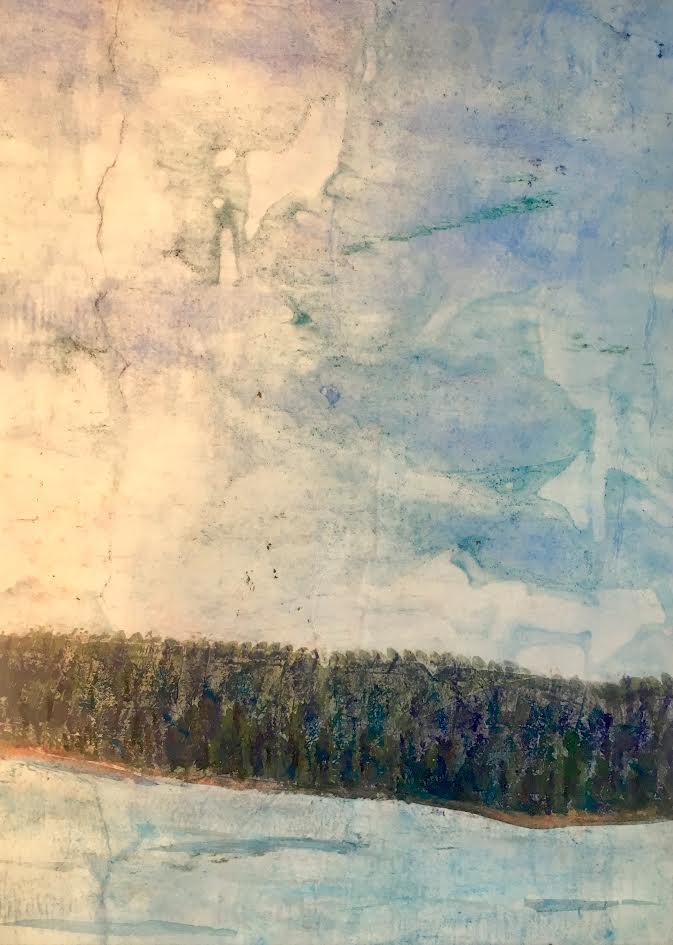 """Big Sky; Big Lake"" 20"" x 16"" $100 ©Linda Snouffer, Botanical Printmaker        Lindasnouffer.com"