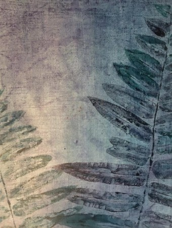 """""""Tropical Afterlight,""""  Original botanical prints of Florida fern printed on painted canvas, with chalk pastel enhancements.   Matted/bagged.  16"""" x 20""""  $100  ©Linda Snouffer, Botanical Printmaker        Lindasnouffer.com"""