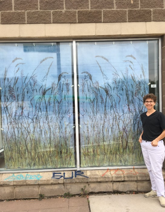 """Urban Prairie"" on the storefront of Springboard for the Arts.  ©Linda Snouffer, Botanical Printmaker 2018"