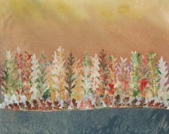 """""""Shoreline""""  is composed of filipendula and yarrow leaf prints on fabric and organza, appliqued to a painted canvas; framed.  ©Linda Snouffer, Botanical Printmaker        Lindasnouffer.com"""