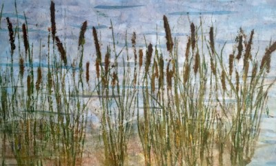 """""""Cattails,""""  Original botanical landscape made of  grasses printed on layers of pigment infused tissue paper.    Matted/bagged.  16"""" x 20""""  $200  ©Linda Snouffer, Botanical Printmaker        Lindasnouffer.com"""