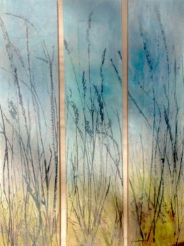 """""""Autumn Approaches""""  Grass prints on hand-pigmented tissue; mounted on hardwood panels.  Each panel sold separately.  ©Linda Snouffer, Botanical Printmaker        Lindasnouffer.com"""
