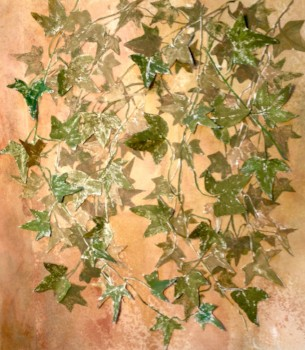 """""""West Garden Wall""""  is composed of ivy leaves printed on watercolor paper, cut and mounted on hand-pigmented tissue.  Framed.  ©Linda Snouffer, Botanical Printmaker        Lindasnouffer.com"""
