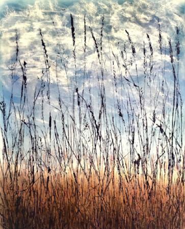 """""""Alley Grass"""" 25"""" x 21"""" $550  ©Linda Snouffer, Botanical Printmaker"""