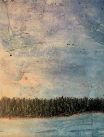 """""""Wooded Shore,""""  Original botanical landscape made of  grasses printed on layers of pigment infused tissue paper.    Matted/bagged.  16"""" x 20""""  $150  ©Linda Snouffer, Botanical Printmaker        Lindasnouffer.com"""