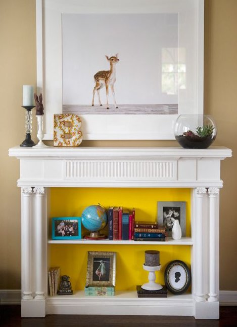 White Storage mantel