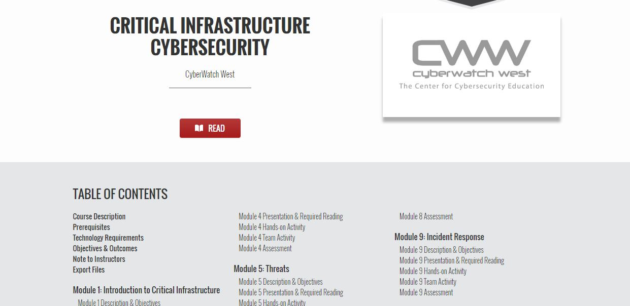 Critical Infrastructure Cybersecurity course materials