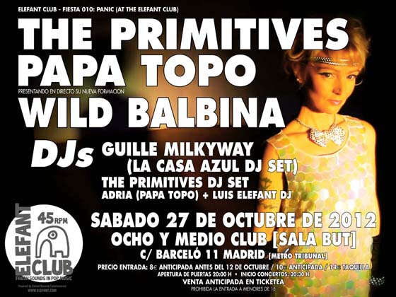 Flyer Concierto THE PRIMITIVES MADRID