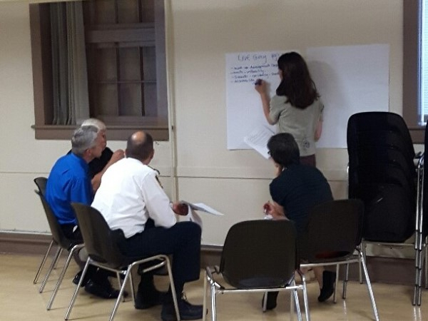 Planning staff conducting a breakout session in Hanover for Recolour Grey
