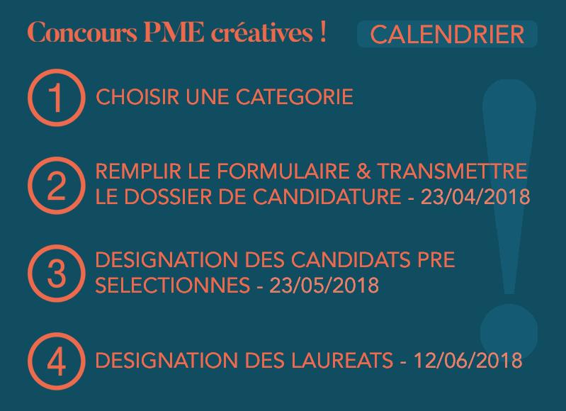 Calendrier du concours PME créatives