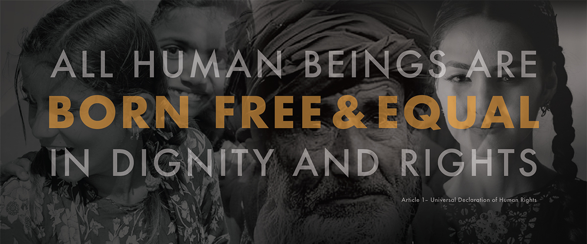 """Photo of 4 faces. Overlaid with text reading """"All Human Beings Are Born Free & Equal in Dignity and Rights"""""""
