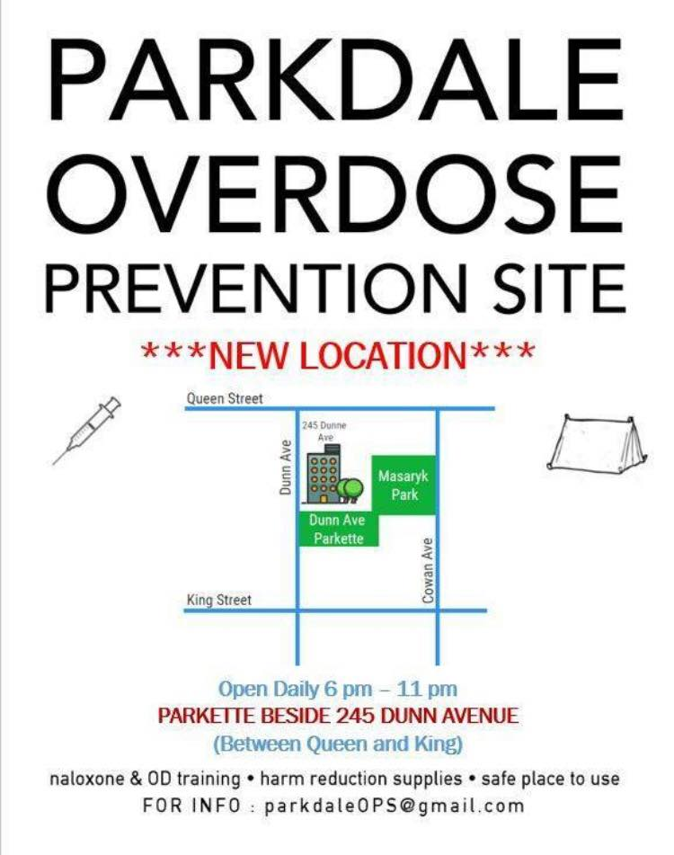 Map of Parkdale Overdose Prevent Site - 245 Dunn Avenue open 6-11pm