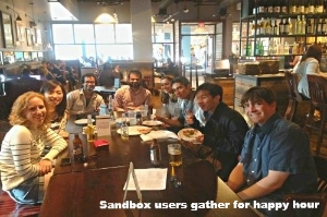 Sandbox users gather for happy hour