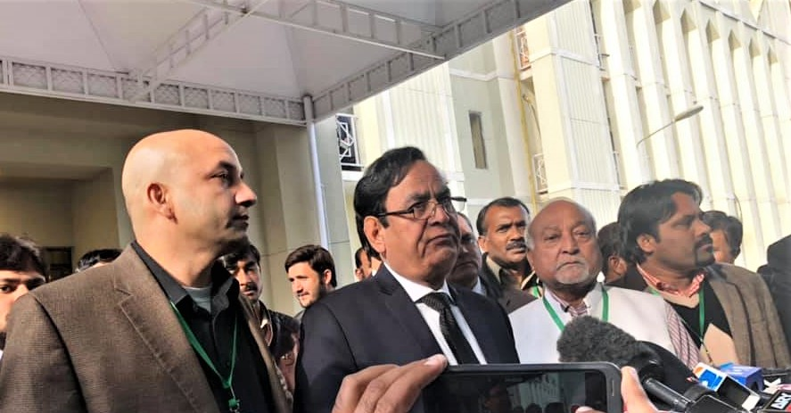 Attorney Saiful Malook speaks with reporters after the high court upheld its acquittal of Aasiya Noreen (Asia Bibi). (Morning Star News)