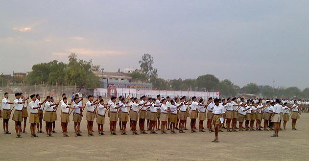 RSS drill in Nagpur during a national camp in May 2011. (Ganesh Dhamodkar Wikimedia Commons)