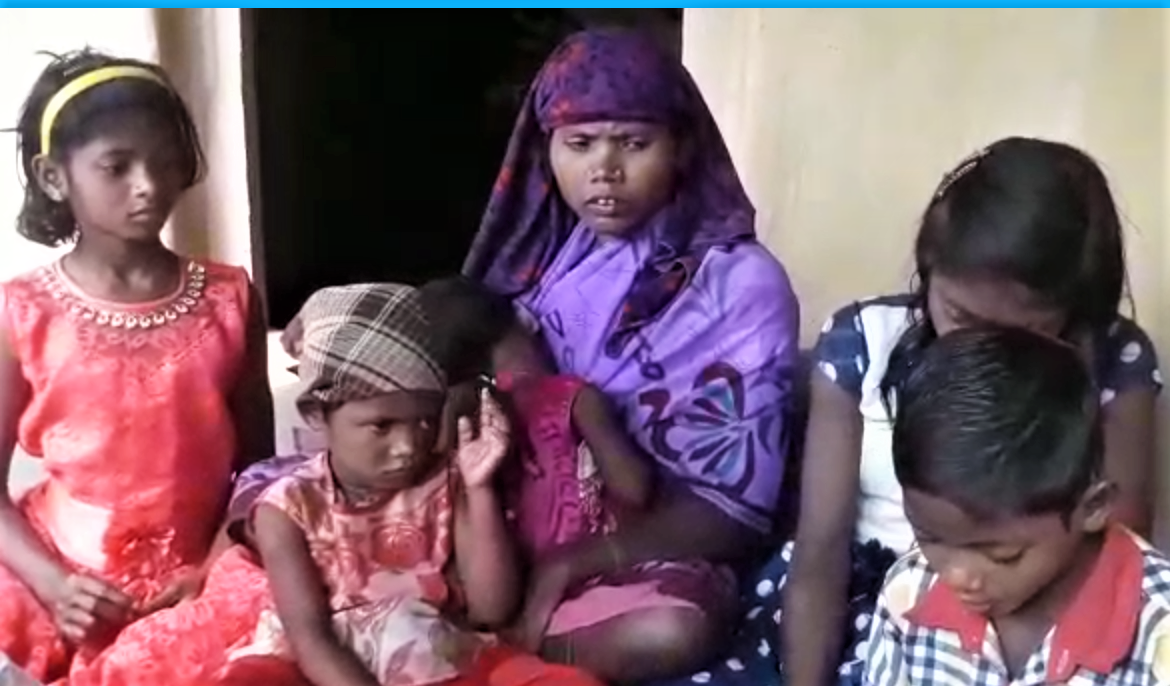Wife and children of Anant Ram Gond, killed in Odisha state, India on Feb. 11, 2019. (Morning Star News screenshot from Persecution Relief video)