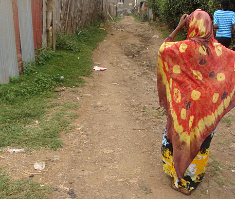 Hassan's mother on pathway where he was attacked outside Nairobi. (Morning Star News)