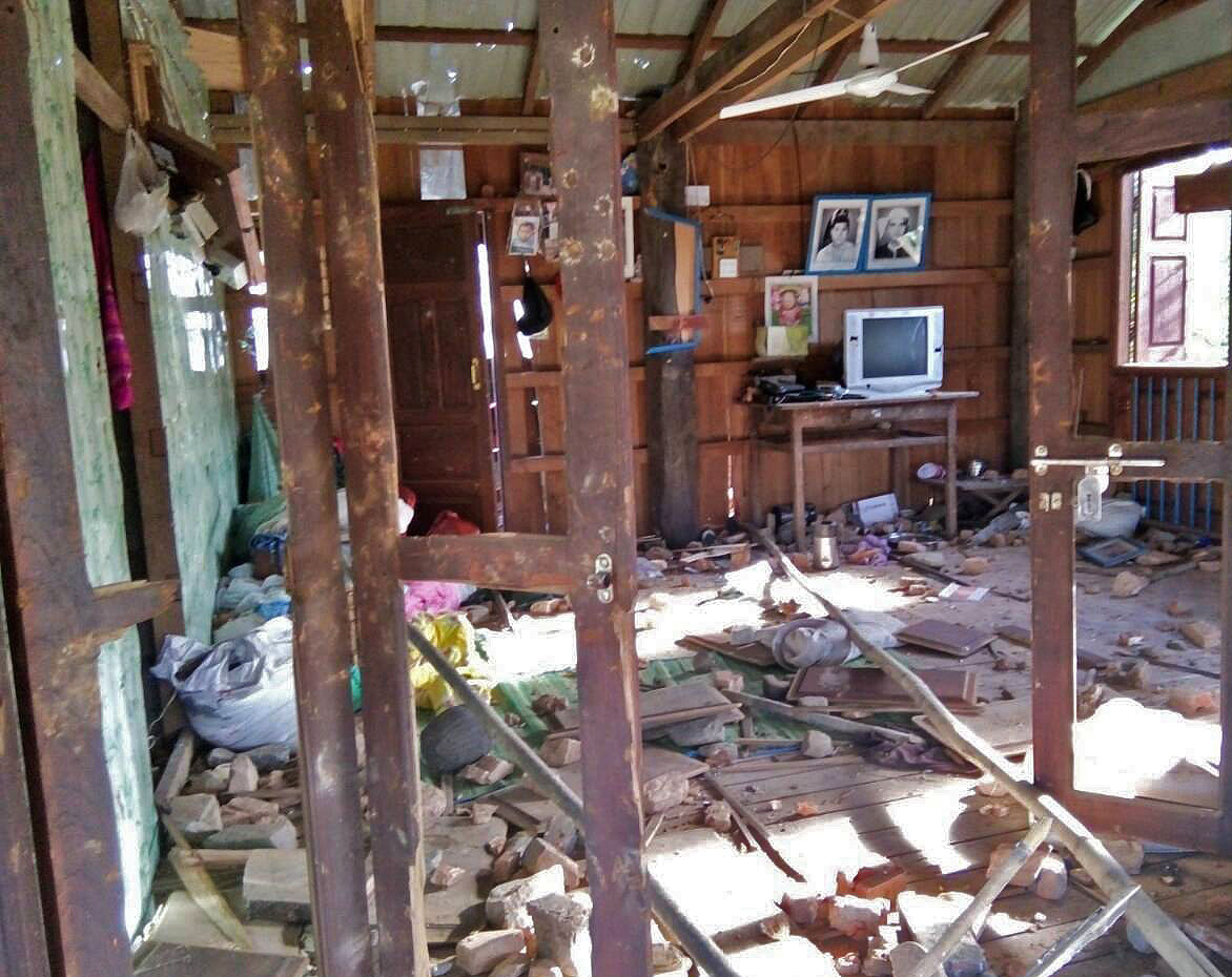 One of the ruined houses of the Christians attacked in Thi Taw village. (Morning Star News via Soe Thura Hlsaing)