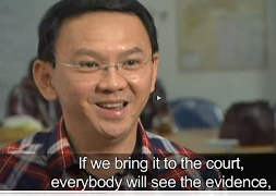 Jakarta Gov. Basuki Ahok Tjahaja Purnamat on recent broadcast in Indonesia. (screen grab)
