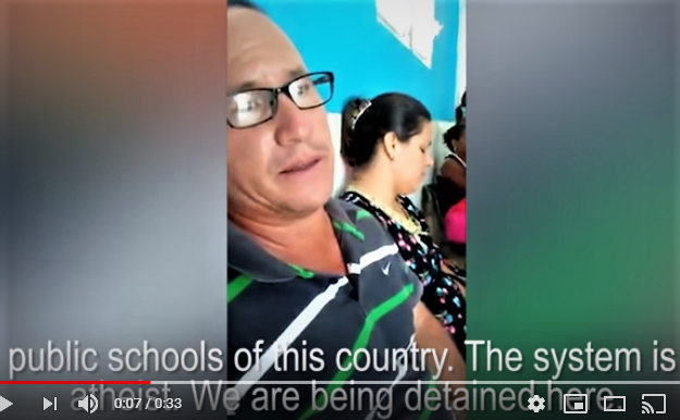 Screenshot of HSLDA video of Pastor Ramon Rigal as he explains detention at police station in Cuba. (Morning Star News via HSLDA)