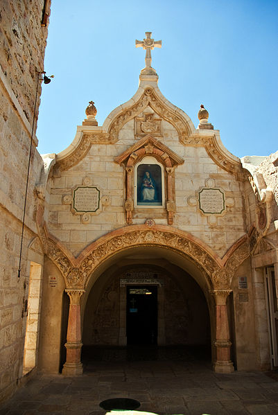 Milk Grotto, a Catholic pilgrimmage site in Bethlehem, West Bank, Palestinian Territories. (Wikipedia)