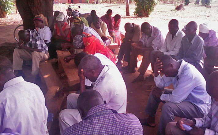 Church leaders of Bukedi diocese, Uganda pray during Feb. 10 meeting in Katira. (Morning Star News)