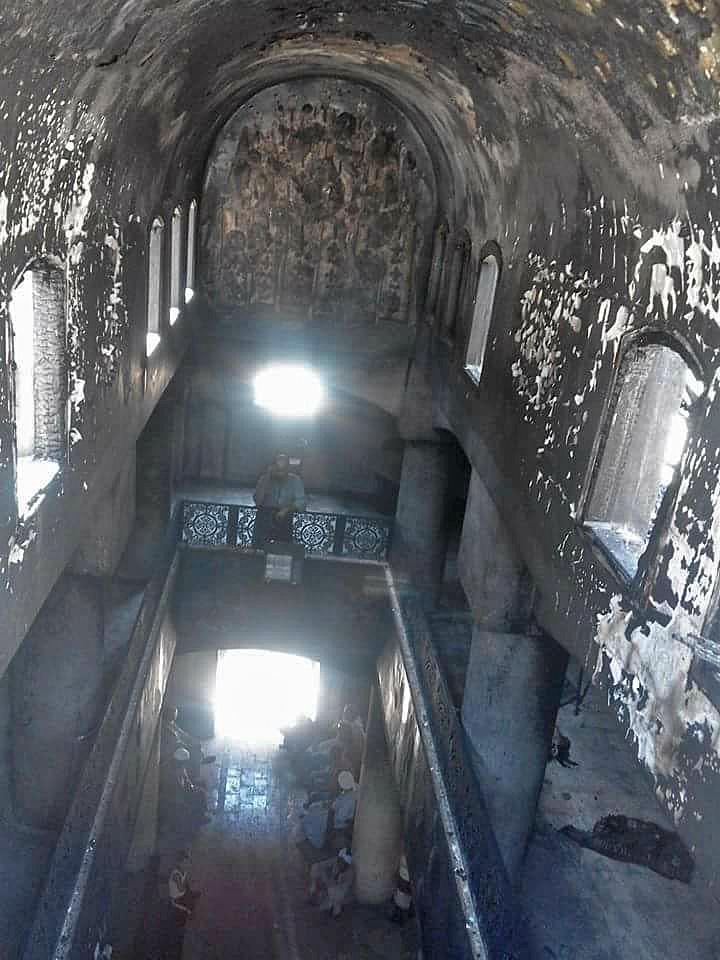 Church building burned in Luxor, Egypt.