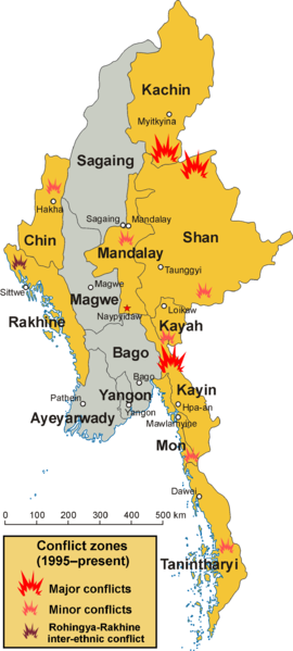 Areas of conflict in Burma (Myanmar). (Wikimedia, CentreLeftRight, Aoetearoa)
