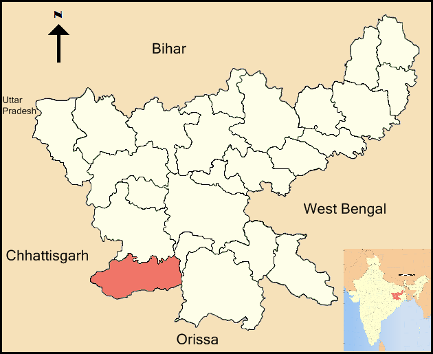 Location of Simdega District in Jharkhand state, eastern India. (Wikipedia)