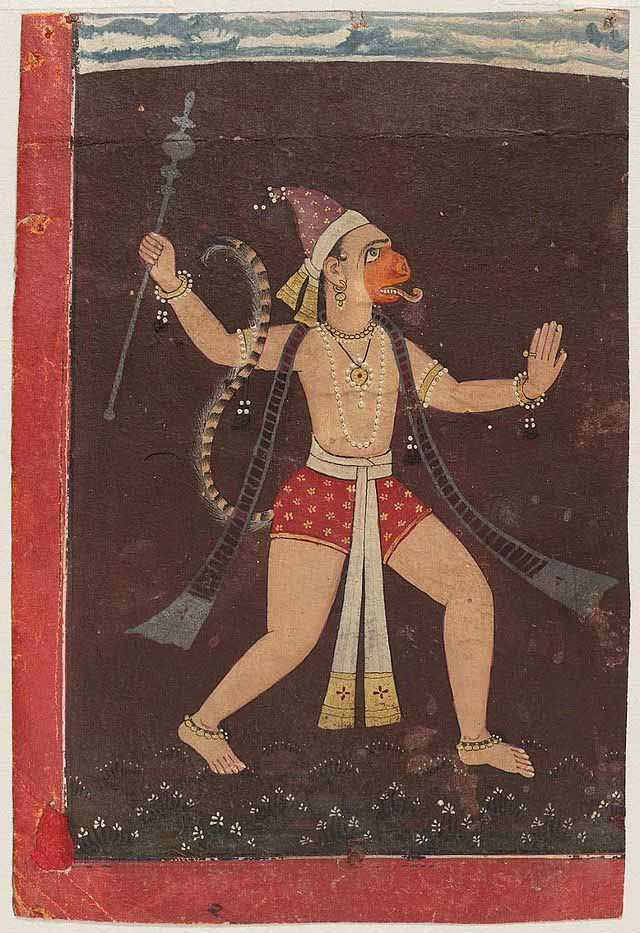 Painting from northern India, cerca 1700, of Hanuman god. (Wikipedia