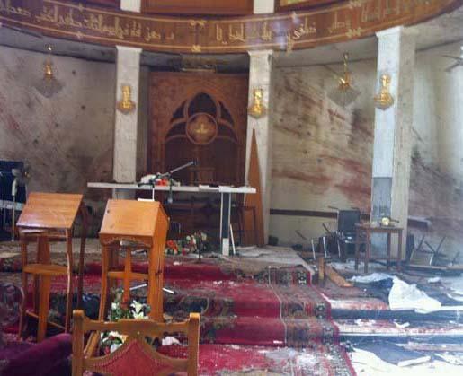 Damage to Our Lady of Salvation Syriac Catholic Church in Baghdad (Ankawa.com photo)
