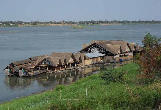 Floating restaurant on the Mekong River, Savannakhet, Laos. (Morning Star News via Wikipedia)