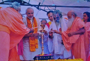 Narendra Modi (second from left) in photo from poster at 2006 Hindu nationalist rally in Gujarat. (Morning Star News)