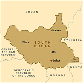 South Sudan map: CDC