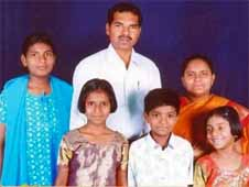 The Rev. Orucanti Sanjeevi with family members. (Morning Star News via Sanjeevi family)