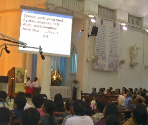 Worship in Malay language at Feast of Visitation church in Seremban, Malaysia in 2009. (Wikipedia)