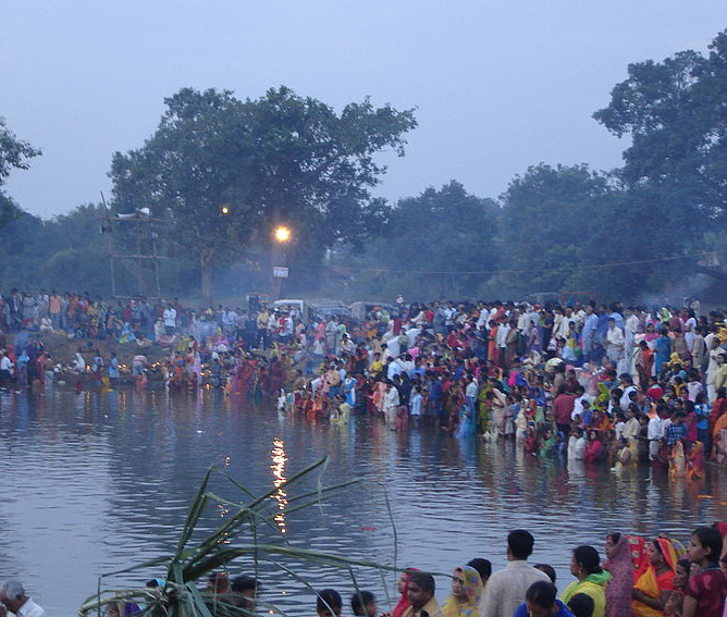 Celebration of Chhath, worship of Sun god, in Bihar, India. (Wikipedia)